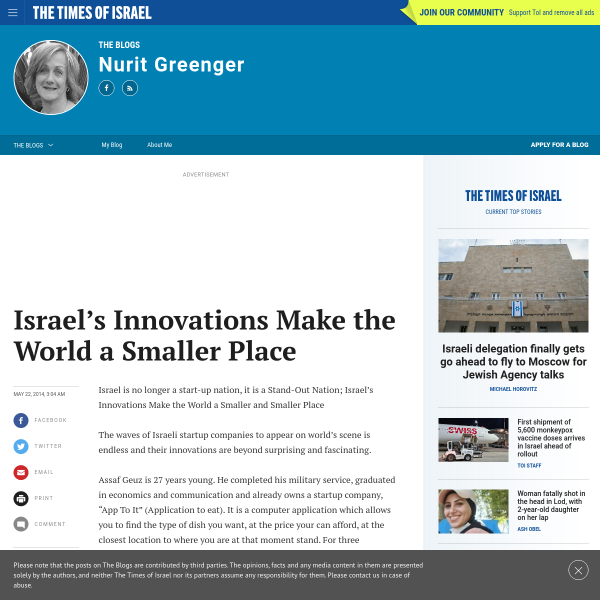 Israel's Innovations Make the World a Smaller Place