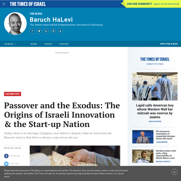 Passover and the Exodus: The Origins of Israeli Innovation & the Start-up Nation