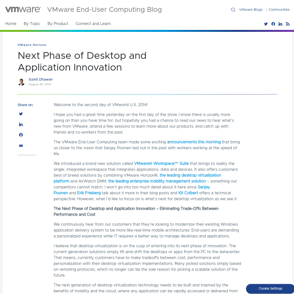 Next Phase of Desktop and Application Innovation - VMware End-User Computing Blog