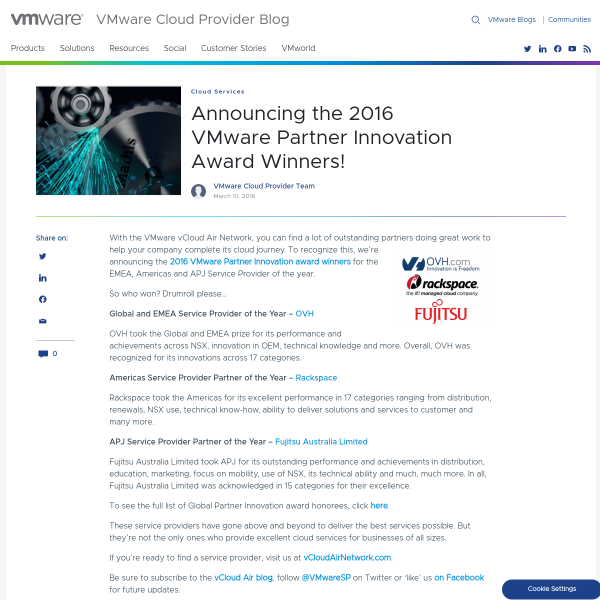 Announcing the 2016 VMware Partner Innovation Award Winners! - VMware Cloud Provider Blog