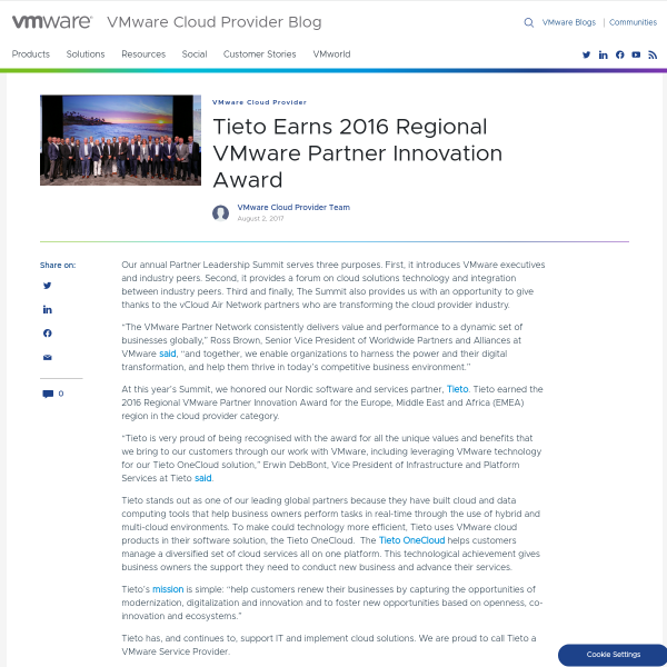Tieto Earns 2016 Regional VMware Partner Innovation Award - VMware Cloud Provider Blog
