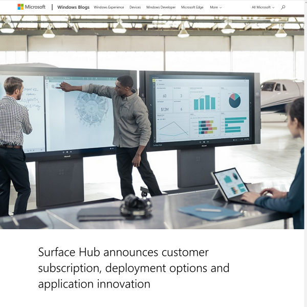 Surface Hub announces customer subscription, deployment options and application innovation - Microsoft Devices Blog