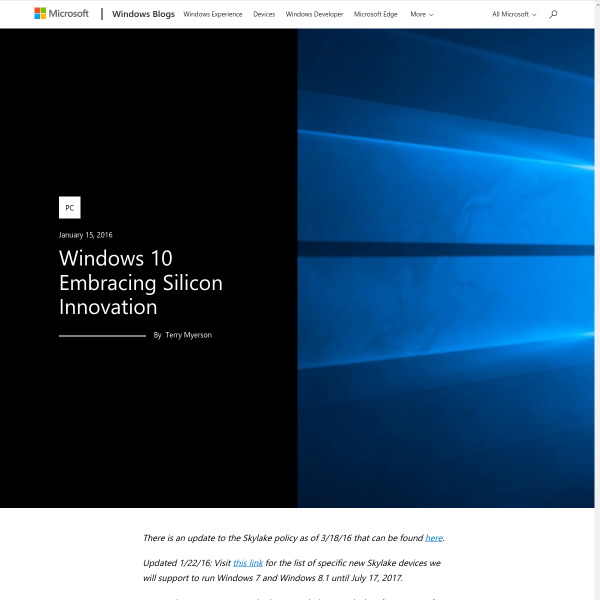 Windows 10 Embracing Silicon Innovation - Windows Experience Blog