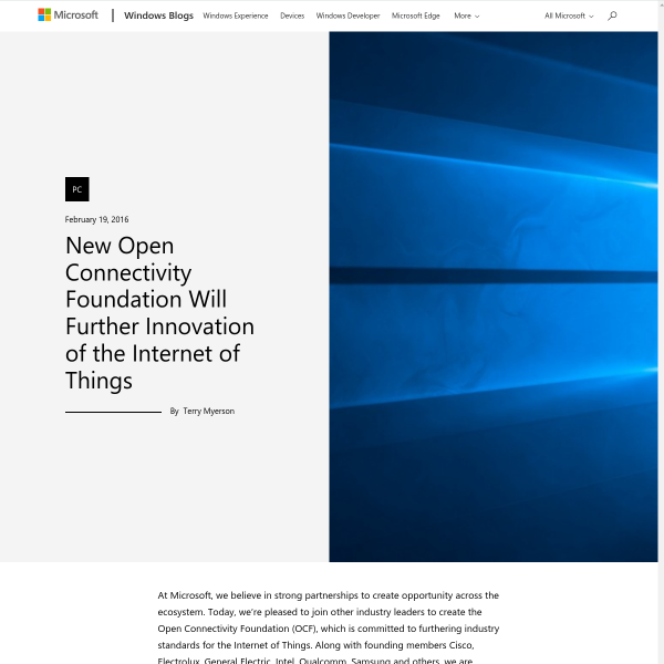 New Open Connectivity Foundation Will Further Innovation of the Internet of Things - Windows Experience Blog