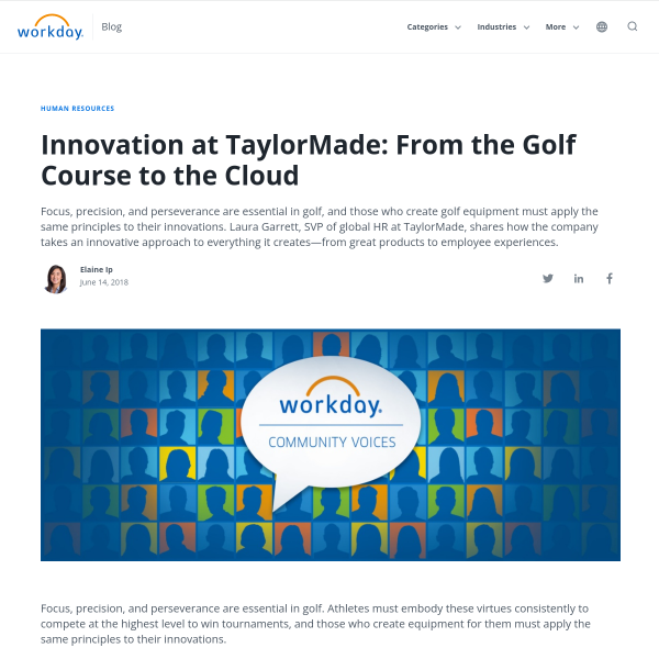 Innovation at TaylorMade: From the Golf Course to the Cloud - Workday Blog