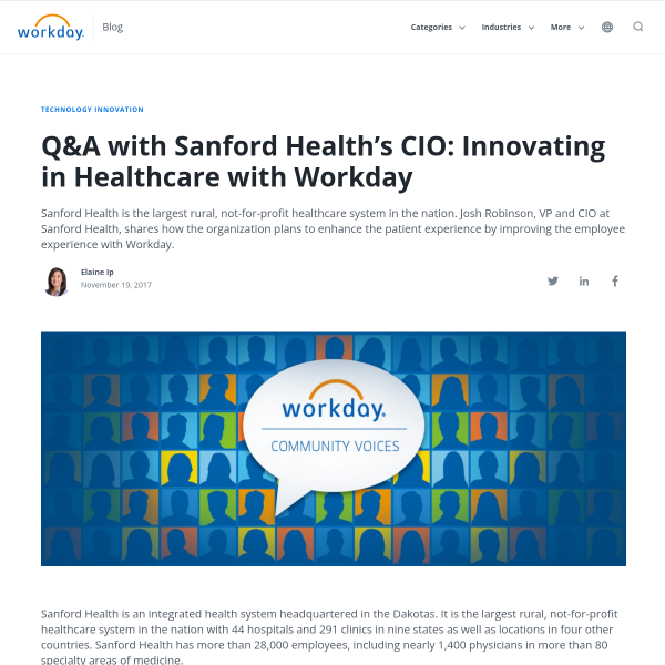 Healthcare Innovation Q&A With Sanford Health CIO - Workday Blog
