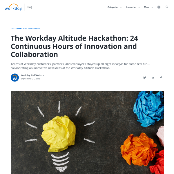 The Workday Altitude Hackathon: 24 Continuous Hours of Innovation and Collaboration - Workday Blog