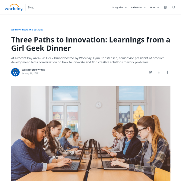 Three Paths to Innovation: Learnings from a Girl Geek Dinner - Workday Blog
