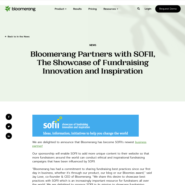 Bloomerang Partners with SOFII, The Showcase of Fundraising Innovation and Inspiration