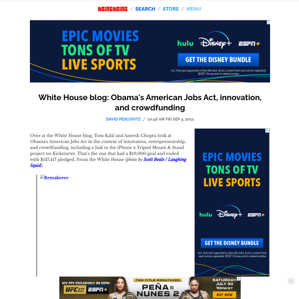 White House blog: Obama's American Jobs Act, innovation, and crowdfunding