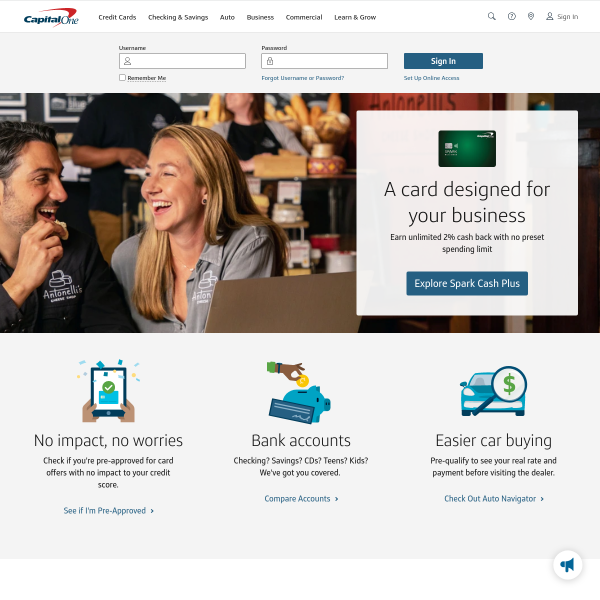 Capital One Credit Cards, Bank, and Loans - Personal and Business screenshot