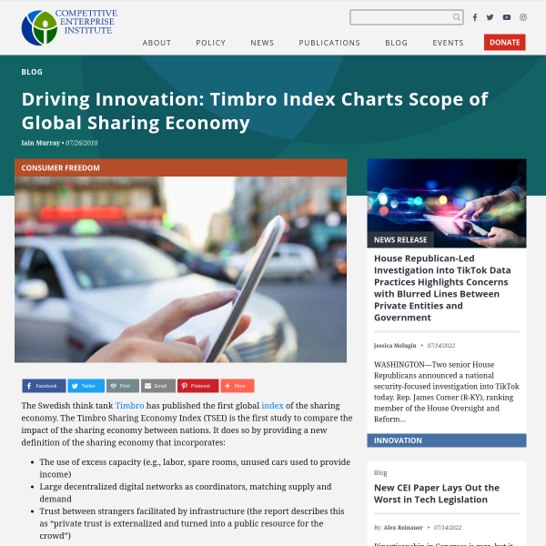 Driving Innovation: Timbro Index Charts Scope of Global Sharing Economy