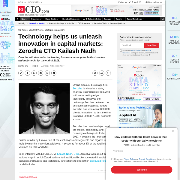 Technology helps us unleash innovation in capital markets: Zerodha CTO Kailash Nadh - ET CIO