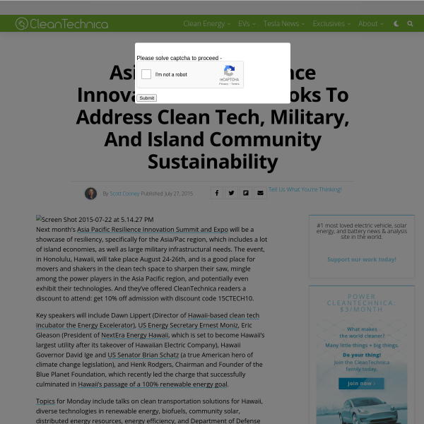 Asia Pacific Resilience Innovation Summit Looks to Address Clean Tech, Military, and Island Community Sustainability - CleanTechnica