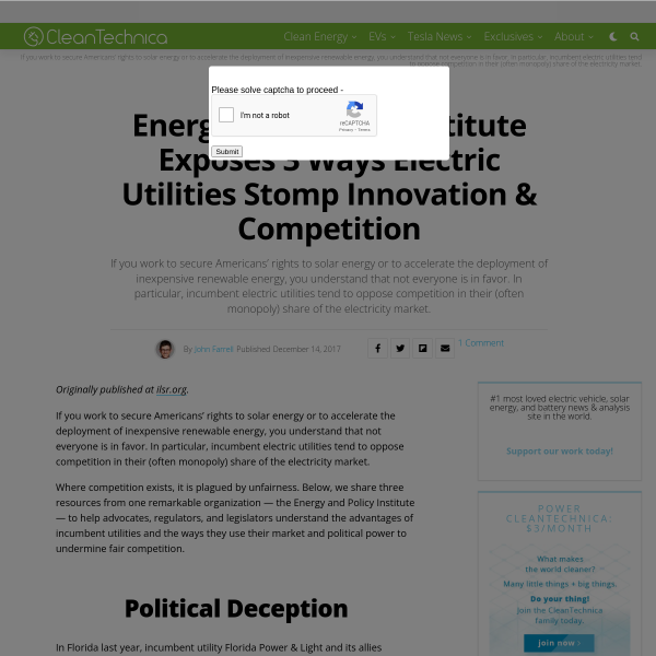 Energy And Policy Institute Exposes 3 Ways Electric Utilities Stomp Innovation & Competition - CleanTechnica