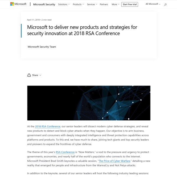 Microsoft to deliver new products and strategies for security innovation at 2018 RSA Conference