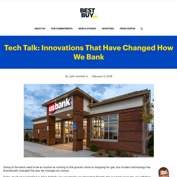Tech Talk: Innovations That Have Changed How We Bank - Best Buy Corporate News and Information