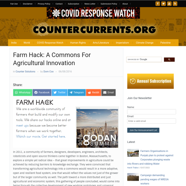 Farm Hack: A Commons For Agricultural Innovation