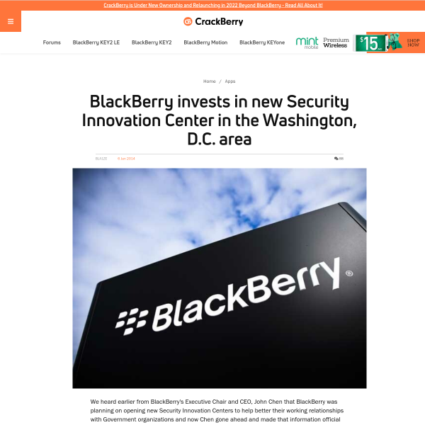 BlackBerry invests in new Security Innovation Center in the Washington, D.C. area