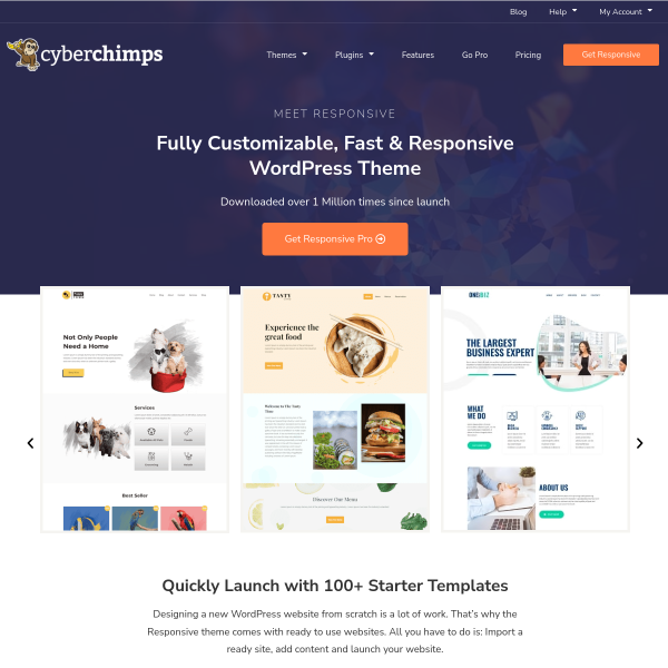 Premium Responsive WordPress Themes & Templates - CyberChimps screenshot