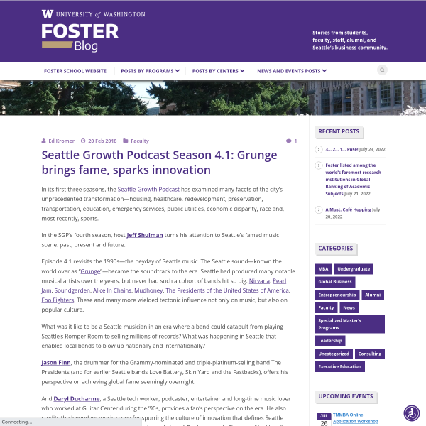 Seattle Growth Podcast Season 4.1: Grunge brings fame, sparks innovation - Foster Blog