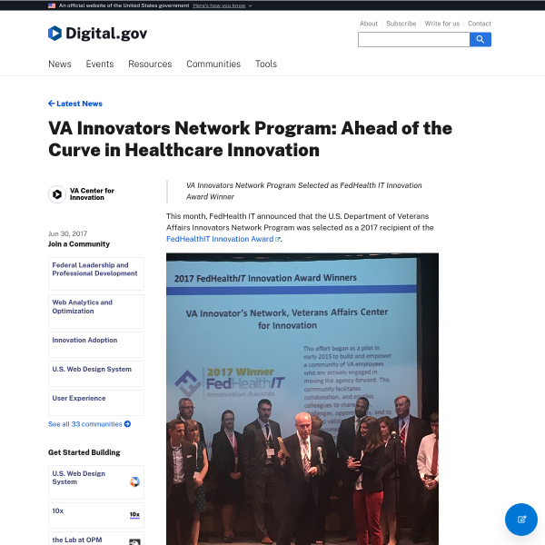 VA Innovators Network Program: Ahead of the Curve in Healthcare Innovation
