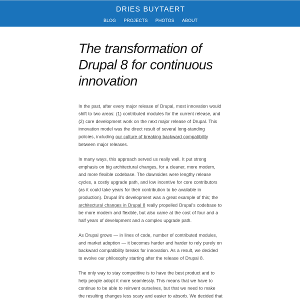 The transformation of Drupal 8 for continuous innovation