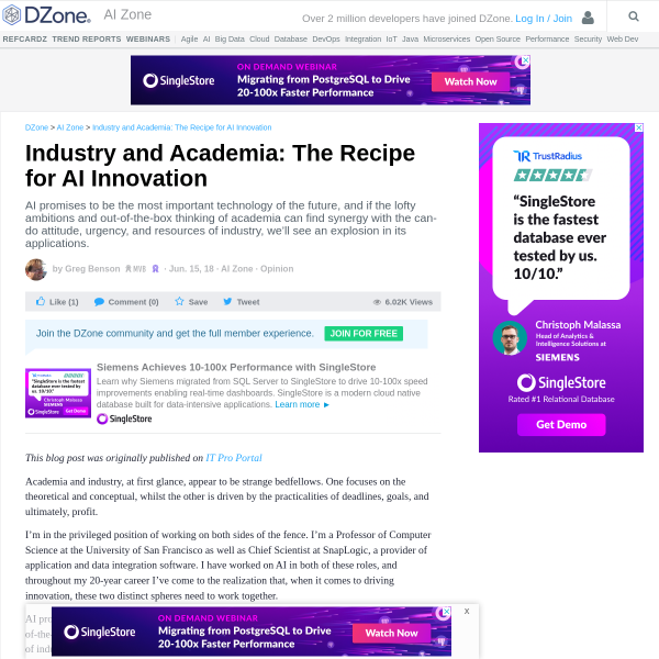 Industry and Academia: The Recipe for AI Innovation - DZone AI