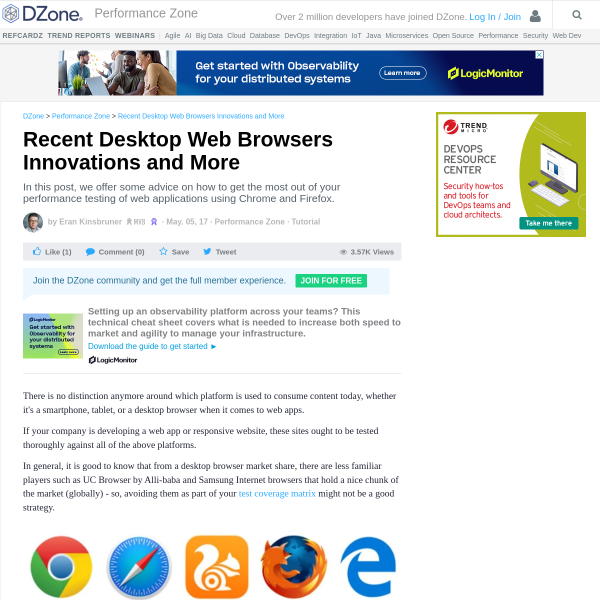 Recent Desktop Web Browsers Innovations and More - DZone Performance