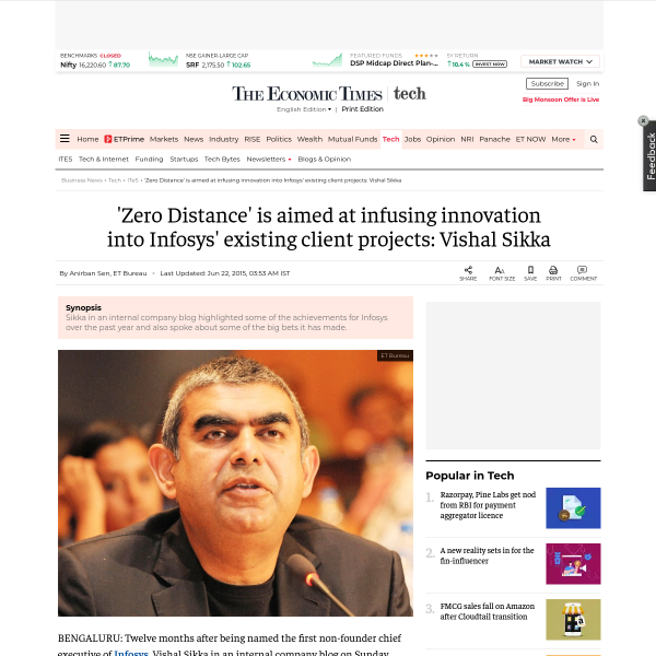 Zero Distance' is aimed at infusing innovation into Infosys' existing client projects: Vishal Sikka