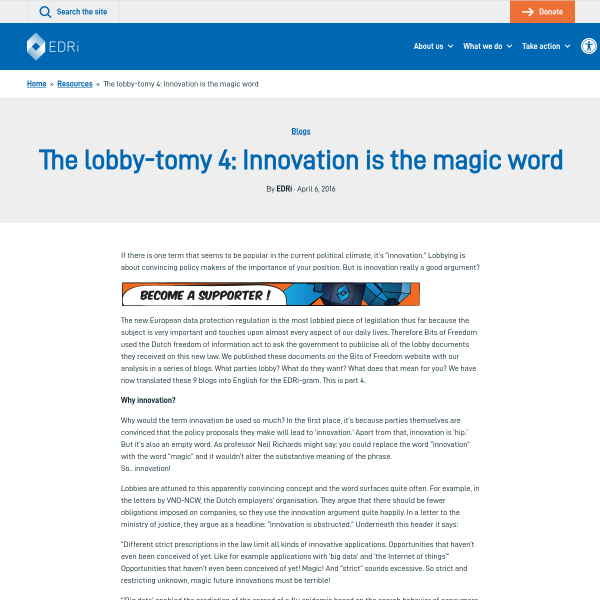 The lobby-tomy 4: Innovation is the magic word - EDRi