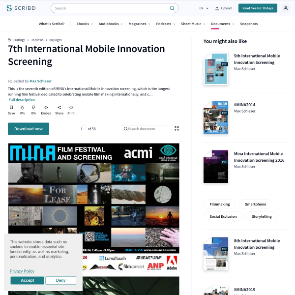 7th International Mobile Innovation Screening - Filmmaking - Smartphone