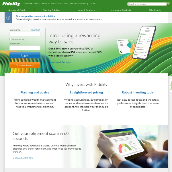 Fidelity Investments - Retirement Plans, Investing, Brokerage, Wealth Management, Financial Planning and Advice, Online Trading. screenshot