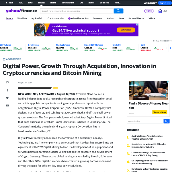 Digital Power, Growth Through Acquisition, Innovation in Cryptocurrencies and Bitcoin Mining
