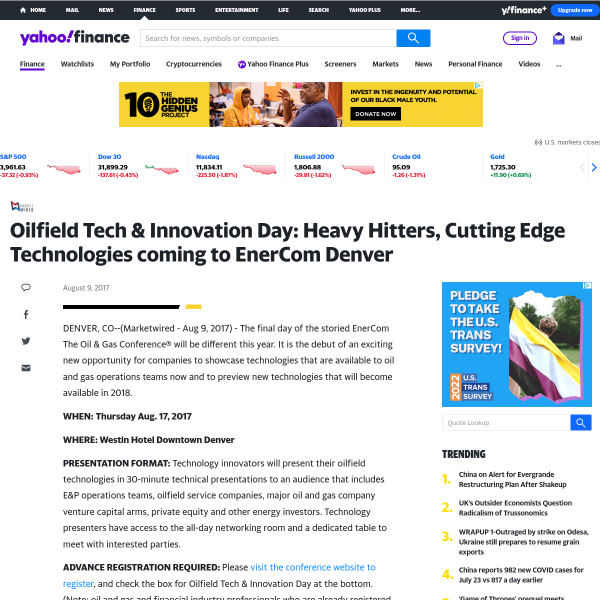 Oilfield Tech & Innovation Day: Heavy Hitters, Cutting Edge Technologies coming to EnerCom Denver