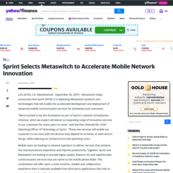Sprint Selects Metaswitch to Accelerate Mobile Network Innovation