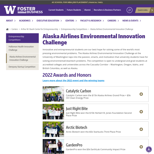 Alaska Airlines Environmental Innovation Challenge - Foster School of Business