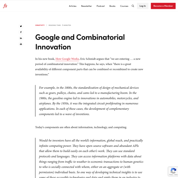 Google and Combinatorial Innovation