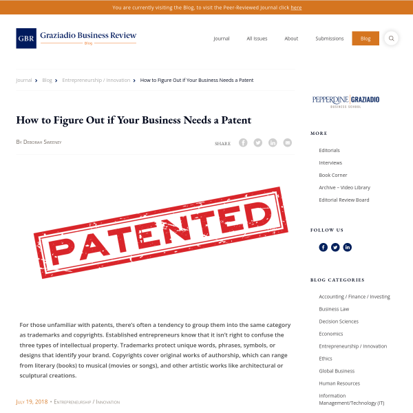 How to Figure Out if Your Business Needs a Patent - Entrepreneurship / Innovation - GBR