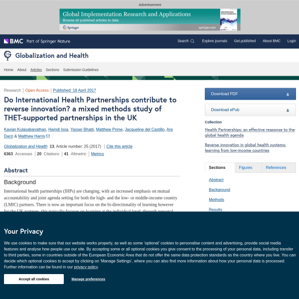 Do International Health Partnerships contribute to reverse innovation? a mixed methods study of THET-supported partnerships in the UK