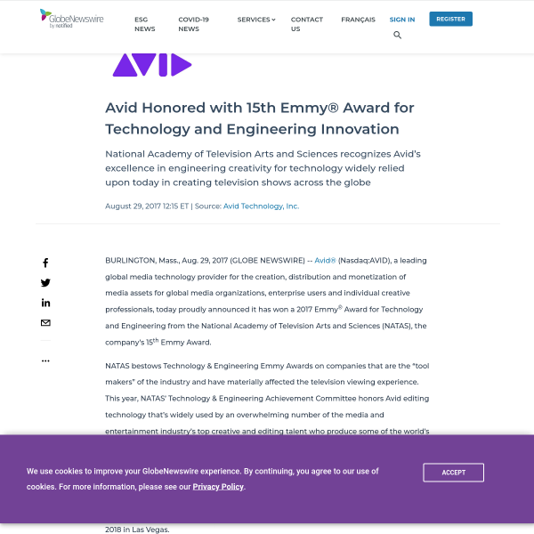 Avid Honored with 15th Emmy® Award for Technology and Engineering Innovation