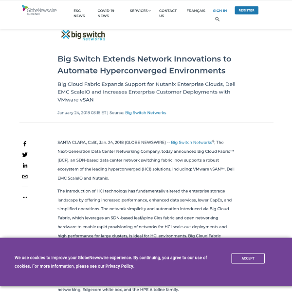 Big Switch Extends Network Innovations to Automate Hyperconverged Environments