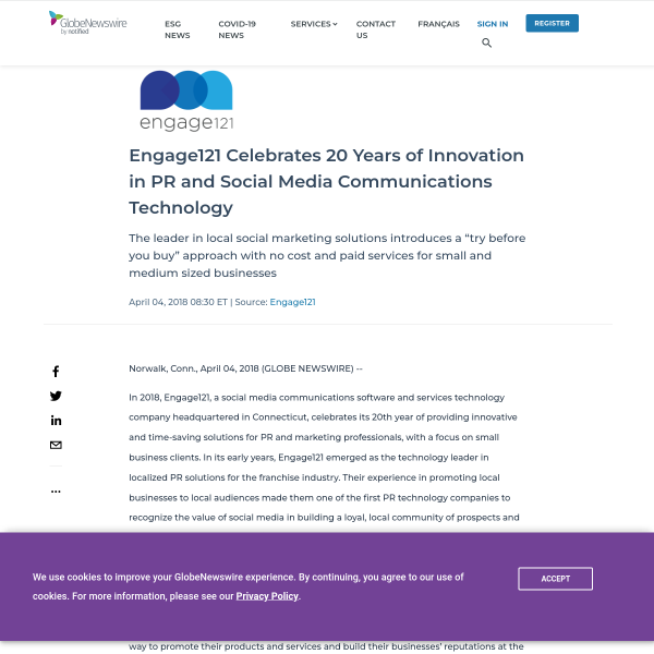 Engage121 Celebrates 20 Years of Innovation in PR and Social Media Communications Technology