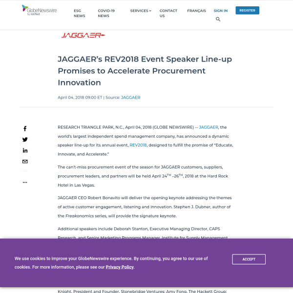 JAGGAER's REV2018 Event Speaker Line-up Promises to Accelerate Procurement Innovation