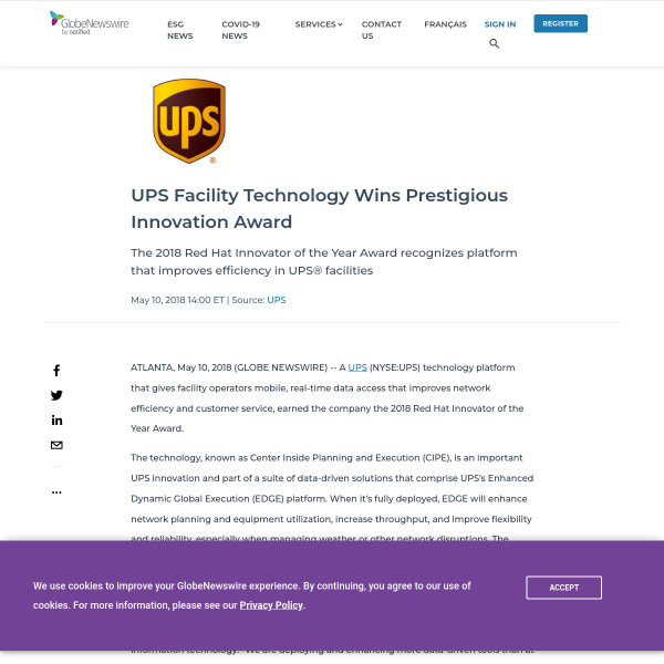 UPS Facility Technology Wins Prestigious Innovation Award