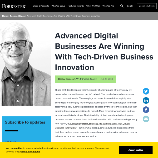 Advanced Digital Businesses Are Winning With Tech-Driven Business Innovation