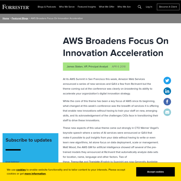 AWS Broadens Focus On Innovation Acceleration