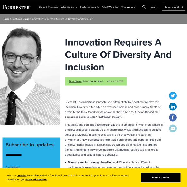 Innovation Requires A Culture Of Diversity And Inclusion