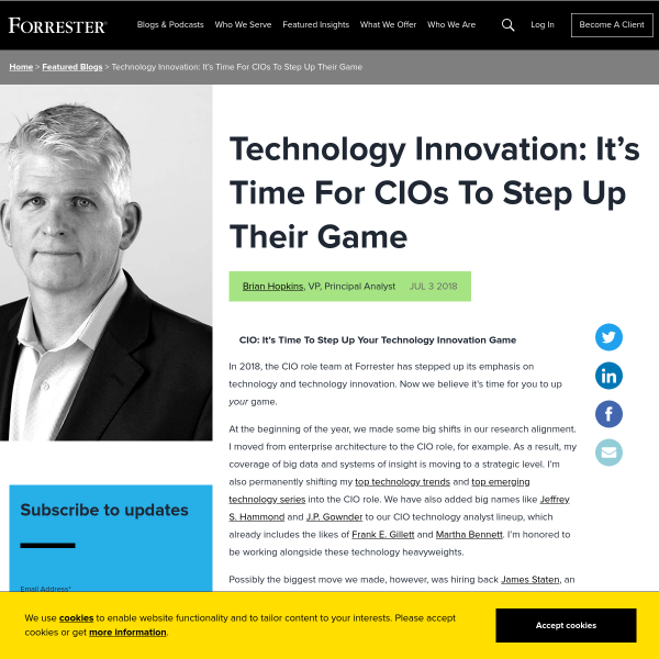 Technology Innovation: It's Time For CIOs To Step Up Their Game