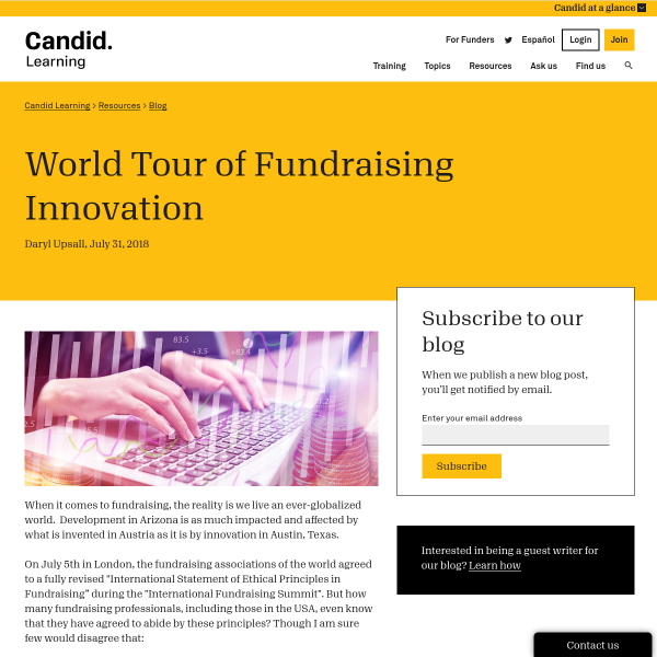 World Tour of Fundraising Innovation - Blog - GrantSpace
